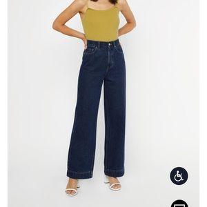 Wide leg dark wash jeans